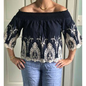 Navy And Ivory Embroidered Off The Shoulder Top M